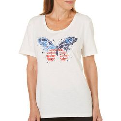 Coral Bay Womens Embellished Americana Butterfly Top