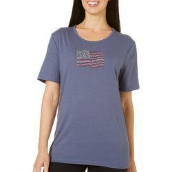 Coral Bay Womens Embellished American Flag T-Shirt
