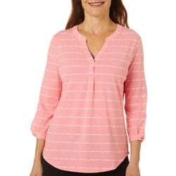 Coral Bay Womens Striped Button Sleeve Split Neckline Top