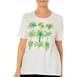 Coral Bay Womens Jeweled Tropical Palm Trees Top