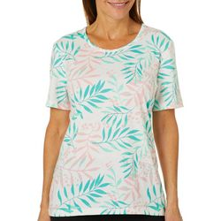Coral Bay Womens Animal Leaf Print Top