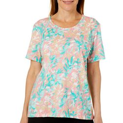 Coral Bay Womens Tropical Floral Short Sleeve Top