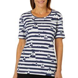 Coral Bay Womens Striped Sailboat Print Top