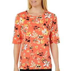 Coral Bay Womens Painted Flowers Keyhole Top
