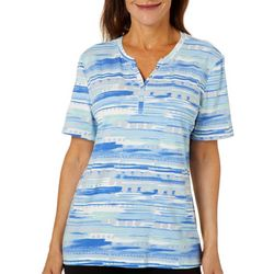 Coral Bay Womens Abstract Print Split Neck Short Sleeve Top