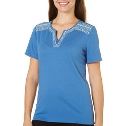 Coral Bay Womens Embroidered Neckline Top