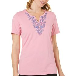 Coral Bay Womens Embroidered Split Neckline Top