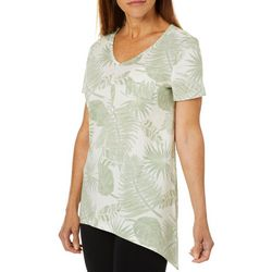 Coral Bay Womens Tropical Palm Print V-Neck Top