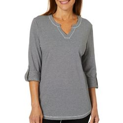 Coral Bay Energy Womens Striped Roll Tab Sleeve Top