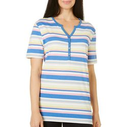 Coral Bay Womens Stripes Button Split Neck Top