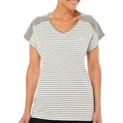 Coral Bay Womens Horizontal Stripes Pocket Top