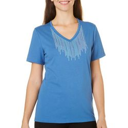 Coral Bay Womens Rhinestone & Embroidered Top