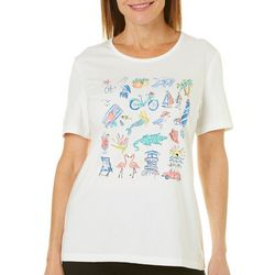 Coral Bay Womens Embellished Florida Fun Top