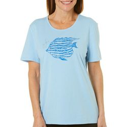 Coral Bay Womens Embellished Tropical Fish Top