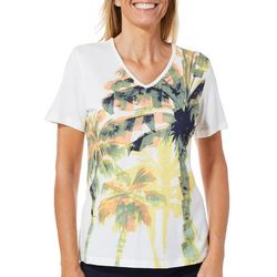 Coral Bay Womens Palm Tree Brushstroke Top