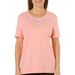 Coral Bay Womens Embellished Scoop Neck Top