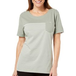 Coral Bay Womens Cedar Key Stripes Pocket Top