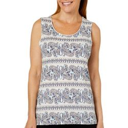 Coral Bay Womens Paisley Striped Sleeveless Top