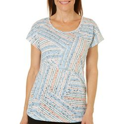 Coral Bay Womens Stripe Block Burnout Top