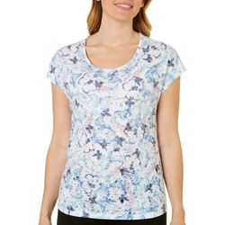 Coral Bay Womens Butterfly Print Burnout Top