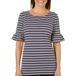 Coral Bay Womens Elbow Sleeve Ruffle Striped Top