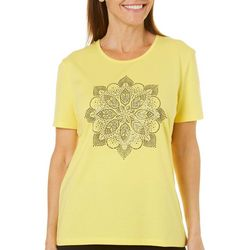 Coral Bay Womens Embellished Medallion Top