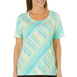 Coral Bay Womens Crossing Stripes Short Sleeve Top