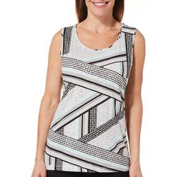 Coral Bay Womens Abstract Striped Sleeveless Top