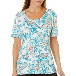 Coral Bay Womens Embellished Paisley Print Top