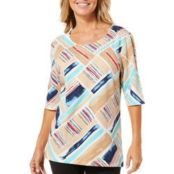 Coral Bay Womens Painted Block Jewel Neck Top