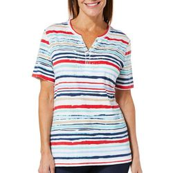 Coral Bay Womens Scratched Stripe Henley Top
