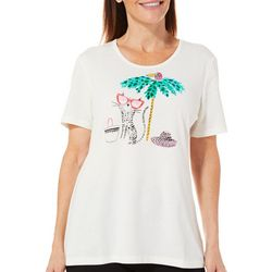 Coral Bay Womens Embellished Beach Cat Top