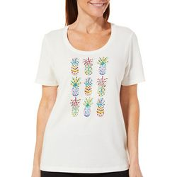 Coral Bay Womens Embellished Tropical Pineapple Top