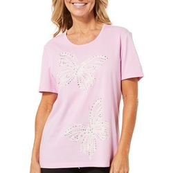 Coral Bay Womens Embellished Butterfly Couple Top