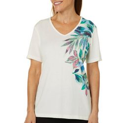 Coral Bay Womens Embellished Tropical Leaf Top