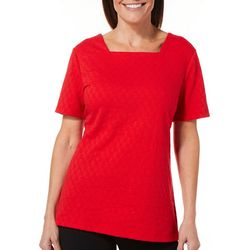 Coral Bay Womens Textured Square Neck Top