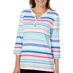 Coral Bay Womens Colorful Striped Henley Top