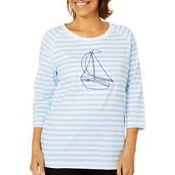 Coral Bay Womens Striped Embroidered Sailboat Top