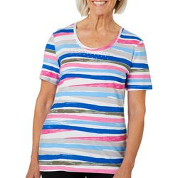 Coral Bay Womens Embellished Painted Stripe Top