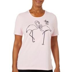 Coral Bay Womens Solid Embroidered Flamingo Top