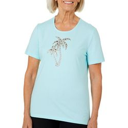 Coral Bay Womens Jeweled Palm Tree Duo Top