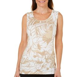 Coral Bay Womens Floral & Palm Frond Print Tank Top