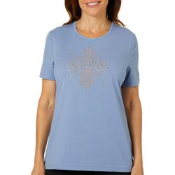 Coral Bay Womens Jeweled Swirling Medallion Top