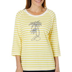 Coral Bay Womens Embroidered Palm Tree Stripe Top