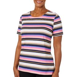 Coral Bay Womens Embellished Stripe Short Sleeve Top