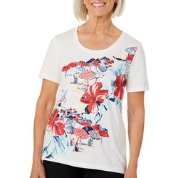 Coral Bay Womens Embellished Americana Beach Scene Top