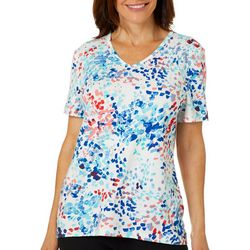 Coral Bay Womens Brush Stroke Printed Short Sleeve