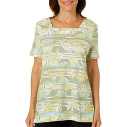 Coral Bay Womens Tropical Palm Leaf & Stripe Square Neck Top