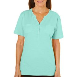 Coral Bay Womens Split Neckline Button Placket Top