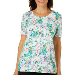 Coral Bay Womens Flamingo Garden Short Sleeve Top